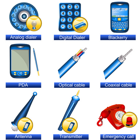 dialer: Collection of 9 blue phone icons isolated separately on white background. - part 5 Illustration