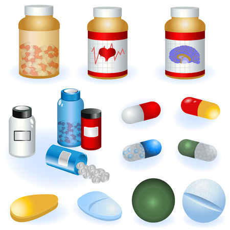 prescription: Collection of different pills and pill bottles vector illustration.