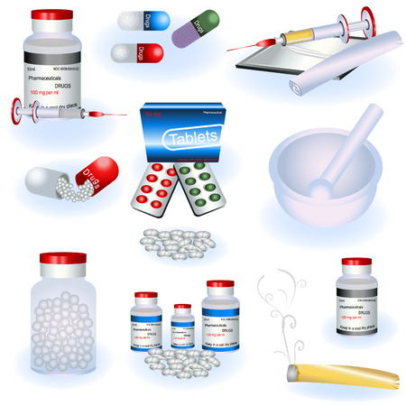 A collection of drugs icons Vector
