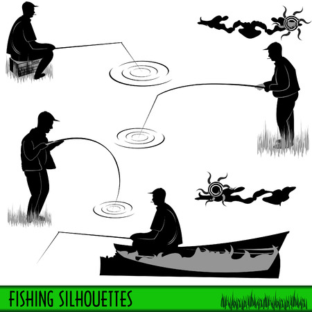 fisherman boat: A collection of four different fishermans silhouettes.