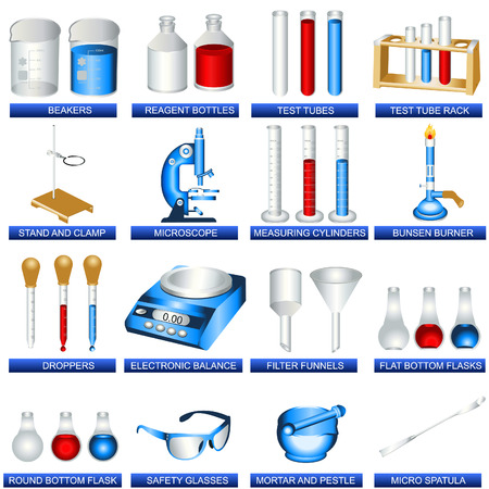 A collection illustration of different laboratory tools. Illustration