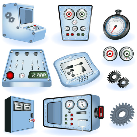 controls: A collection of different machine operators - electric controls illustrations