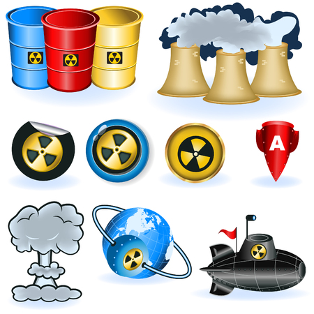 A collection of nine different nuke icons.