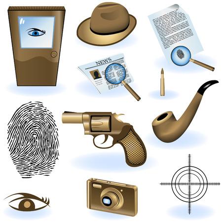 私立探偵の異なるアイコンのコレクション。