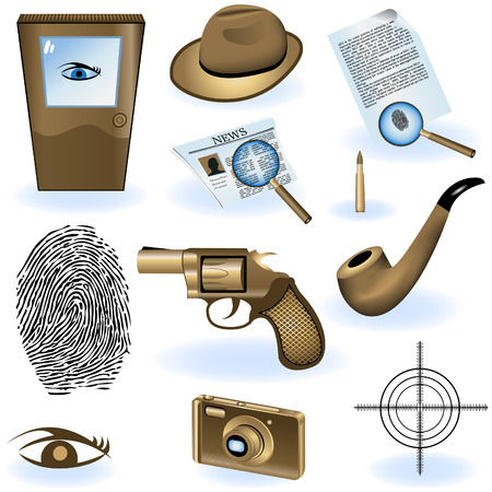 private investigator: A collection of different private detective icons.