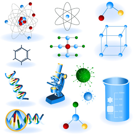 A collection of 12 different science color icons. Vector
