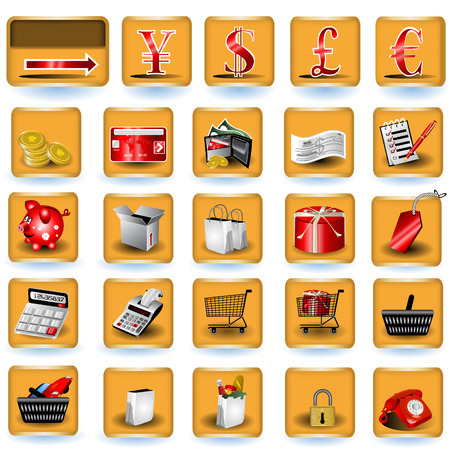A collection of color shopping icons placed on brown buttons Vector