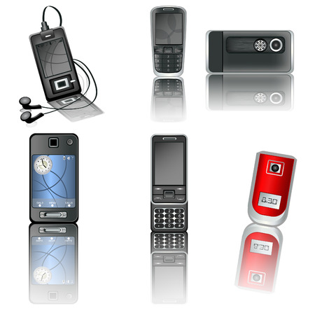 A collection of six illustrated different high detailed cellphones with reflection. Stock Vector - 8976680