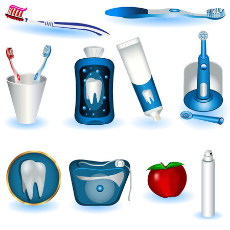 tooth paste: A collection of ten dental hygiene images. Illustration