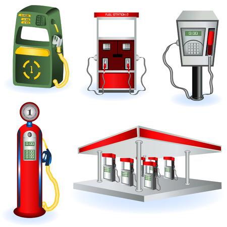 petroleum: Una colecci�n de iconos de estaci�n de cinco diferentes combustibles. Vectores