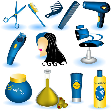 adjusting: A collection of 12 different hair care illustrated icons.