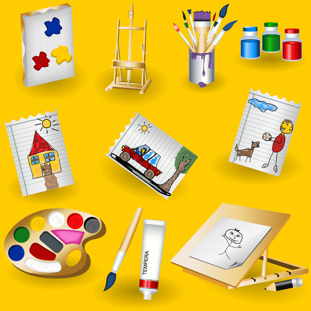 fleck: A collection of nine different painting icons on yellow background.