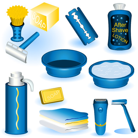 washbowl: A collection of twelve different shaving blue images. Illustration