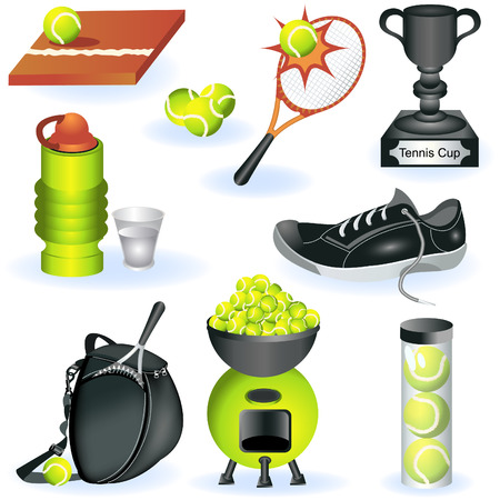 lawn tennis: A collection of different color tennis icons - part two. Illustration