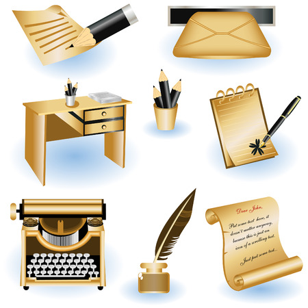 A collection of eight different writing icons isolated on white background. Stock Vector - 8976672