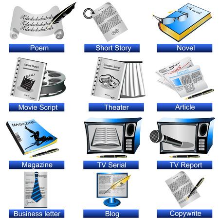 artikelen: Een verzameling van 12 verschillende schrijven icons geïsoleerd op een witte achtergrond.