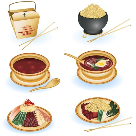 A collection of six different illustrations of Chinese food.