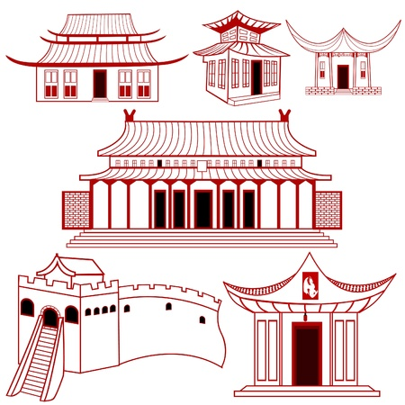 japan culture: A collection of Chinese outlined traditional buildings illustrations. Illustration