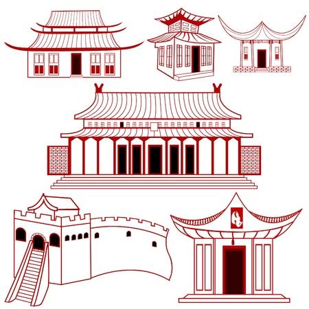 asian culture: Una collezione di cinese delineato illustrazioni di edifici tradizionali. Vettoriali