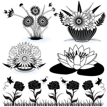 A collection of black and white different flower illustrations Stock Vector - 9200041