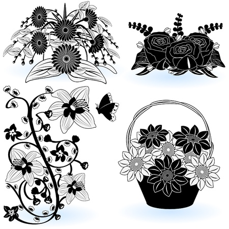 A collection of black and white different flower illustrations - part 5 Stock Vector - 9200042