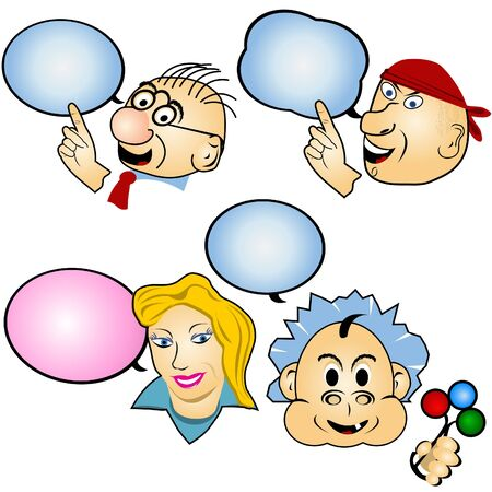 A collection of different cartoon faces with balloons illustrations Vector