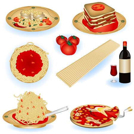 italian pizza: A collection of Italian food color illustrations. Illustration