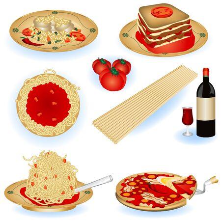lasagna: Una colecci�n de ilustraciones a color comida italiana.