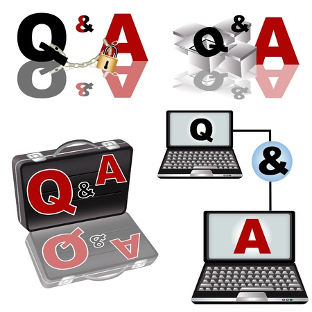 A collection of Q & A - Questions and Answers - illustrations. Stock Vector - 9200033