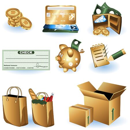 A collection of different shopping icons illustrations - part 1 Stock Vector - 9200043