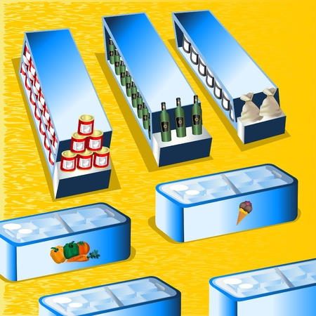 Detailed illustration of a supermarket gondolas, refrigerators and aisles. Vector