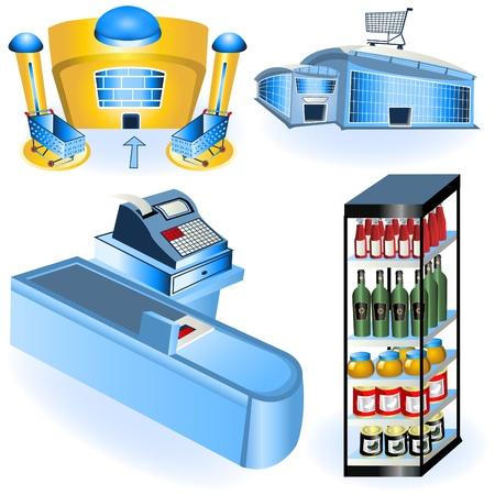 スーパー マーケットのアイコン - のコレクション パート 2  イラスト・ベクター素材