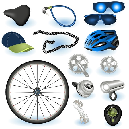A collection of bicycle equipment color illustrations.