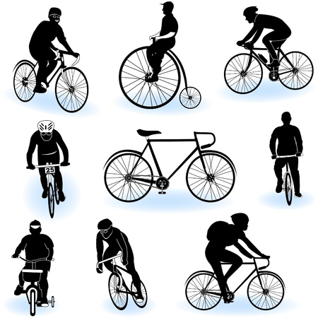 adolescência: A collection of 9 different bicycling silhouettes over white background. Ilustra��o