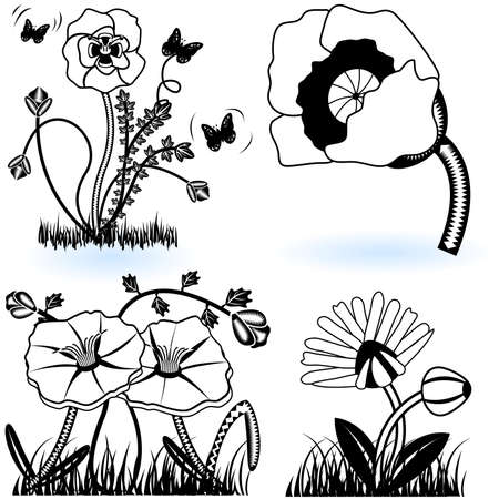 Collection of flowers Stock Vector - 9488213