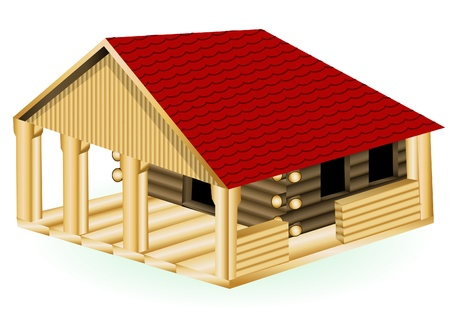 red roof: A detailed illustration of a log cabin isolated on white background.