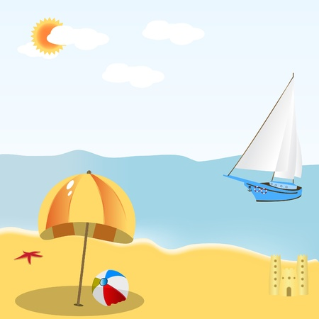 mild: Illustration of a summer beach scene, mild colors, easy to fit in any situation.