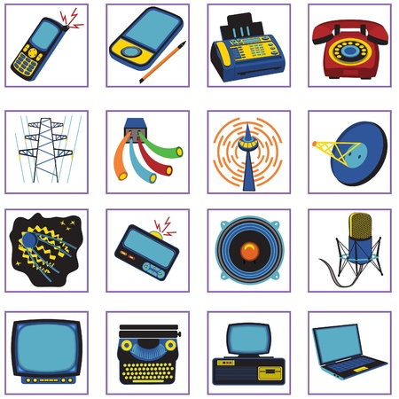 pager: Set of 16 different communication icons, illustration in retro style.