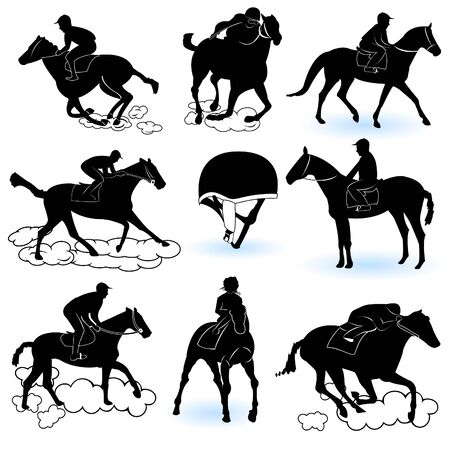 racehorse: Illustration of 8 different jockey silhouettes, and a jockey cap