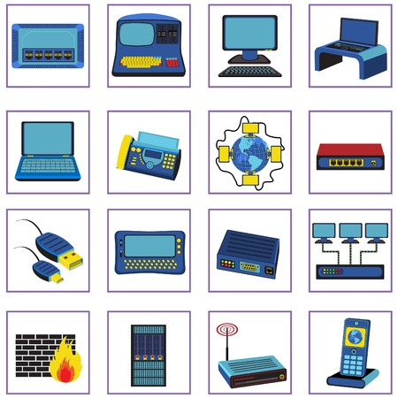 Illustration set of 16 different network icons in retro style. Vector