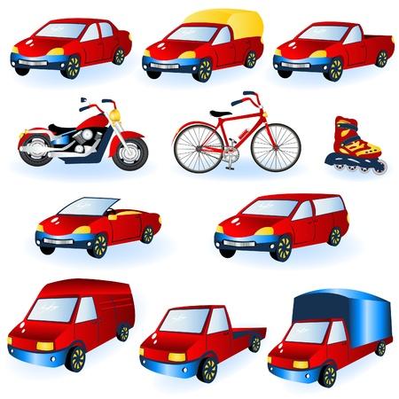 Illustration von 11 verschiedenen roten Fahrzeugikonen. Vektorgrafik