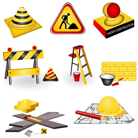 A collection of eight different construction icons. Stock Vector - 9931048