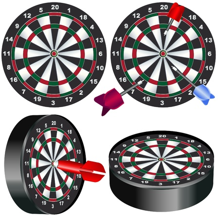 Illustration of a dart board in different positions with darts. Vector