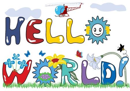 Hello world letters with original font and with decorations. Stock Vector - 9931044