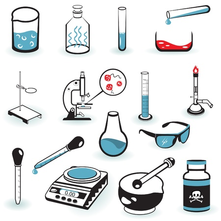 drug discovery: A collection illustration of different laboratory tools. Illustration
