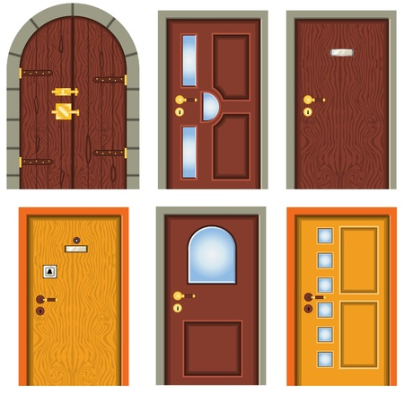 old wooden door: Collection of doors Illustration