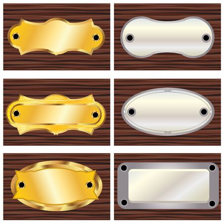 brass plate: Collection of door plates Illustration