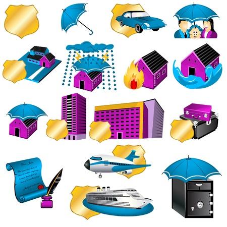 incendio casa: Colecci�n de diecis�is ilustraciones de otro icono seguros.
