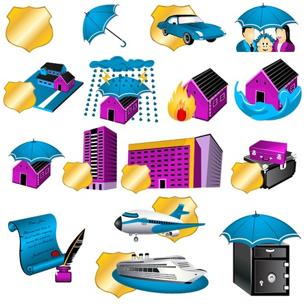 home products: Collection of sixteen different insurance icon illustrations. Illustration
