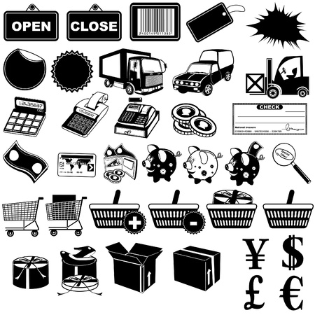 e store: Shop pictogram icons 1 Illustration
